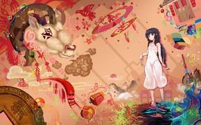 Картинка девушка, животное, аниме, арт, mianbaoshi mengxiang
