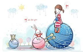 Картинка girl, love, cat, sun, mood, hearts, bunny, artwork, feeling, Friendship, wool, ball of wool, paintig ...
