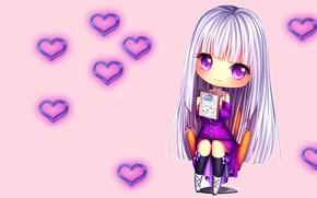 Картинка сердце, аниме, арт, девочка, сердечки, тетрадь, Hyanna-Natsu