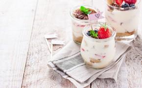Картинка ягоды, еда, черника, клубника, мята, десерт, dessert, coffe, tiramisu, mascarpone, Valeria Aksakova