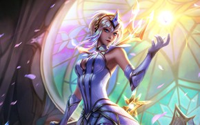 Картинка fantasy, League of Legends, magic, light, crown, sorceress, girl, Lux, stained glass, fantasy art, digital ...