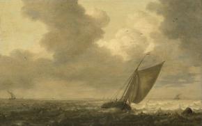 Картинка дерево, масло, картина, морской пейзаж, Питер Мулир I, Рыбацкая Лодка под Парусом Идёт по Ветру