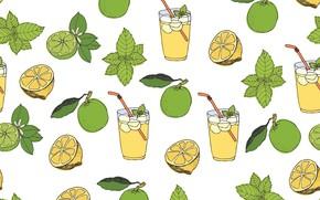 Обои фон, текстура, lemonade, vector, pattern