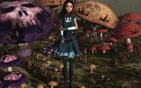 Картинка грибы, Алиса, девочка