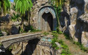 Картинка горы, мост, пальмы, вход, Time-Honoured Entrance