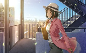 Картинка девушка, аниме, арт, шляпка