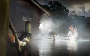 Обои девушки, озеро, туман