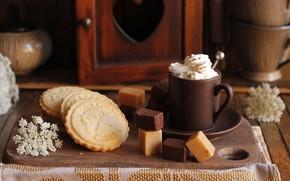 Картинка кофе, печенье, чашка, сладости, крем
