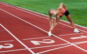 Картинка blonde, female, Athletics, running, elongation, jogging, physical activity outdoor