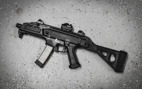 Обои CZ Scorpion, фон, пистолет-пулемёт