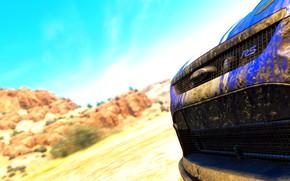 Картинка car, game, ford, the crew, focus rs, deserto, azul, sujeira, lama