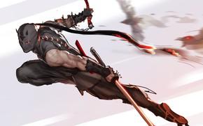 Обои оружие, маска, арт, нападение, ниндзя, Ninja