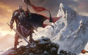 Картинка горы, оружие, флаг, воин, Rise of the Overlords