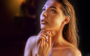 Картинка взгляд, девушка, лицо, портрет, руки, макияж, Alexander Drobkov-Light, Наталия Чернуха