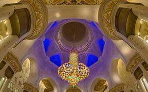 Картинка люстра, зал, ОАЭ, Абу-Даби, мечеть шейха Зайда