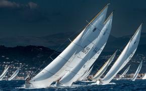 Обои Парусный спорт, Регата, гонка, вода, паруса, парусники, море