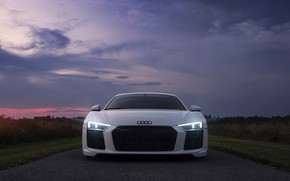 Обои Audi, фары, небо, свет, вечер, утро, Audi R8