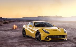 Картинка пейзаж, пустыня, желтая, Ferrari F12
