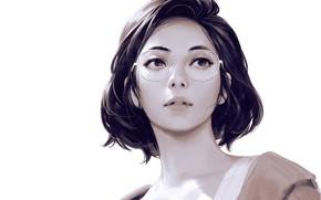 Обои стрижка, Guweiz, белый фон, art, шея, портрет девушки, взгляд вверх, очки