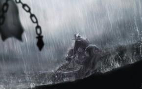 Картинка девушки, дождь, аниме, арт, brave frontier