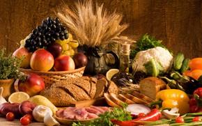 Обои лук, виноград, яблоки, мясо, баклажан, хлеб, огурцы, колоски, овощи, грибы, масло, лимон, перец