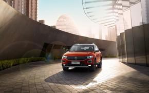 Картинка Volkswagen, вид спереди, 2018, кроссовер, 4Motion, T-Roc