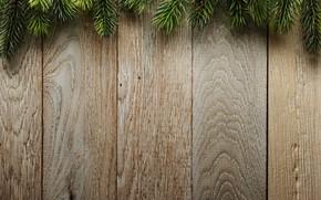 Обои ветки, еловые, wood, Christmas, елка, доски, background, фон