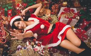 Картинка девушка, праздник, Новый Год, подарки, азиатка