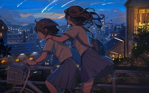 Картинка небо, велосипед, город, две, дома, вечер, Япония, школьницы, подруги, поездка, свет в окнах, падающие звезды
