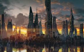 Обои Zion (Before the Fall), отражение, архитектура, Jude Smith, здания, город