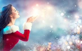 Обои романтичная нежная, леди стиль, взгляд, Eva, Happy New Year, дует руки метель желание, елка гирлянды ...