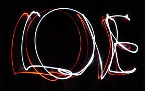 Обои темнота, день всех влюбленных, светящиеся, черный, черный фон, линии, любовь, день святого валентина, фон, свет, ...