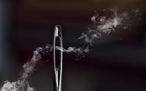 Картинка макро, дым, иголка