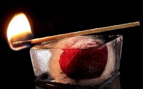 Обои огонь, лёд, клубника, спичка