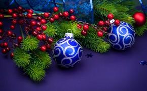 Картинка Лента, Шары, Рождество, Новый год, Украшение, Праздник, Ветки ели, ветки ягод