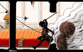 Картинка стена, скелет, разрушение, сражение, испарение, Shingeki no Kyojin, Eren Yeager, Вторжение Гигантов