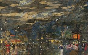 Картинка картина, городской пейзаж, Константин Коровин, Русский Бульвар Ночью