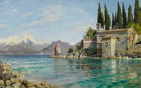Картинка 1909, датский живописец, Петер Мёрк Мёнстед, Peder Mørk Mønsted, Danish realist painter, First spring at …
