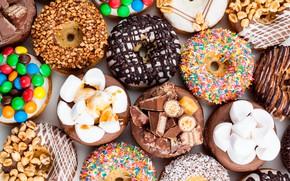 Картинка шоколад, конфеты, сладости, пончики, орехи, выпечка, маршмеллоу