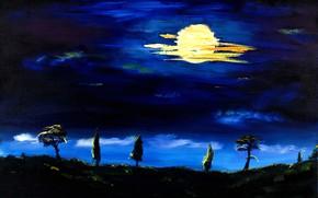 Картинка пейзаж, ночь, луна, картина, Италия, Тоскана, Christian Seebauer