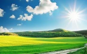 Картинка дорога, поле, лес, солнце, горы, облaка