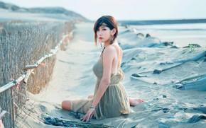 Картинка лето, взгляд, девушка, дюны