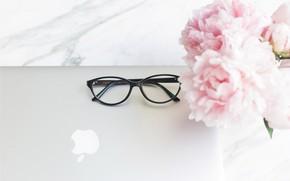 Обои цветы, apple, букет, очки, ноутбук, мрамор, pink, flowers, пионы, peonies, tender, marble