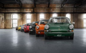 Картинка colorful, Porsche, vintage, cars, Porsche 911, evolution, color, loft