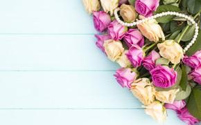 Картинка цветы, желтый, розовый, букет, бусы, Розы, бутоны