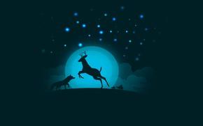 Обои черепахи, олень, луна, ночь, by 0l-Fox-l0, небо, лиса, облака