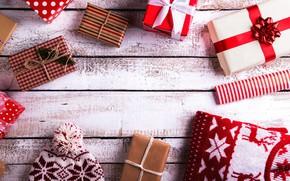 Картинка фон, праздник, подарок, шапка, новый год