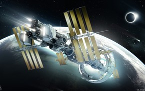 Картинка планета, станция, Spaceship concept