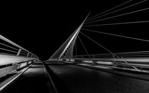 Картинка ночь, мост, опора, Нидерланды, Ньив-Веннеп