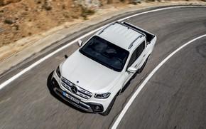 Картинка дорога, белый, движение, разметка, Mercedes-Benz, обочина, пикап, 2017, X-Class